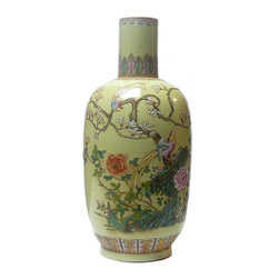 """Golden Lotus - Chinese Yellow Base Famille Verte Birds and Flower Porcelain Vase - Dimensions: Dia 7"""" x h16.5"""""""