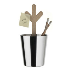 """Alessi - Communicator Plant Desk Organizer by Alessi - Part of a collection by Marti Guixe based on the idea that objects are now a way through which people can communicate with each other. The Alessi Communicator Plant Desk Organizer features a PMMA message board with three """"branches"""" and a """"plant pot"""" made of 18/10 stainless steel. Add pencils, pens or whatever else happens to be currently disorganized on your desk. Alessi, known as the Italian design factory, has manufactured household products since 1921. The stylish and fun items offered are the result of contemporary partnerships with some of the world's best designers of unique and modern home accessories."""