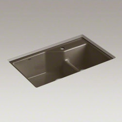 "KOHLER - KOHLER Indio(R) 33"" x 21-1/8"" x 9-3/4"" under-mount Smart Divide(R) large/small d - Add a modern vibe to the kitchen with the crisp design of Indio. The large/medium bowls allow you to keep clean and dirty dishes separate while offering plenty of room for oversize pots and pans. Crafted from enameled cast iron, this sink resists chipping"