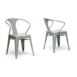 """Wholesale Interiors - French Industrial Modern Dining Chair in Gray, Set of 2 - We didn't think a piece of furniture could possess a skill such as talent until we met these spectacular seats. Cafe chairs? Industrial dining chairs? Minimalist modern chairs? You decide, because we think this design is skilled enough to be all of the above. This set of two Chinese-built steel stackable dining chairs is finished with a powder-coating of glossy, fashionable gray. To clean, wipe with a damp cloth. Non-marking black plastic feet help protect sensitive flooring. The chairs are fully assembled. Product dimension: 22"""" x 24.5""""D x 35.5""""H , seat dimension:16""""W x 15""""D x 18""""H, arm height: 28""""."""