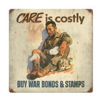 Care War Bonds & Stamps Sign Metal Sign Wall Decor 12 x 12 - Care War Bonds & Stamps Sign Metal Sign Wall Decor From the Altogether American licensed collection, this Care War Bonds & Stamps Sign vintage metal sign measures 12 inches by 12 inches and weighs in at 1 lb(s). This vintage metal sign is hand made in the USA using heavy gauge american steel and a process known as sublimation, where the image is baked into a powder coating for a durable and long lasting finish. It then undergoes a vintaging process by hand to give it an aged look and feel. This vintage metal sign is drilled and riveted for easy hanging.