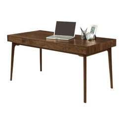 Copeland Furniture - Catalina Desk by Copeland Furniture - The Copeland Furniture Catalina Desk offers a sleek and clean place to get work done. The desk is made entirely out of American black walnut, its beautiful grain and color protected and enhanced by a clear low sheen top coat. If you have a desktop computer, the keyboard (wired or wireless) can be discretely hidden away when not in use inside the dropdown keyboard tray. Founded in 1976 by Tim Copeland, Copeland Furniture specializes in the production of fine natural hardwood furniture. Continual evolution in Copeland Furniture designs have yielded new and exciting takes on classic Arts & Crafts, Shaker and Scandinavian bedroom, living room, office and dining room furniture. All Copeland Furniture pieces are designed and made at their manufacturing facility located on the banks of the Connecticut River in Bradford, Vermont.