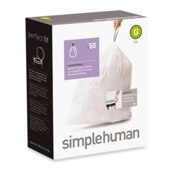 Simplehuman - simplehuman 50-Pack Code G Custom Fit 30-Liter Can Liners - Bin liners are designed to fit simplehuman trash cans (sold separately). Liner fits tightly around the inner bucket of a simplehuman trash can and won't slip into the trash.