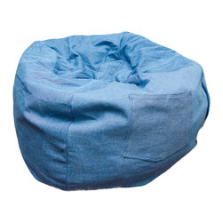 """Fun Furnishings - Fun Furnishings Large Bean Bag in Denim - What a great place to plop down and relax. Each bag come with a handy pocket to store the clicker or any other prized possession. The outer cover is removable for cleaning. The inner liner bag securely contains new fire retardant �beads"""" and is refillable too. Cleaning the cover. We use only fine upholstery-grade fabrics that can take lots of use from kids. Our micro Suede's, denims and chenille's are all washable."""