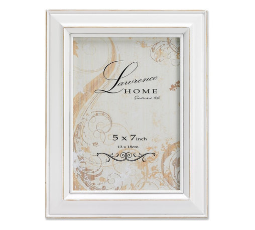 Lawrence Frames - Weathered White Wood 5x7 - Beautiful distressed White wood picture frame.  Hand finished so that every piece is unique and different.  Designer wood picture frame has a casual but elegant decorative look.  High quality White velvet backing.  Frame can stand vertically or horizontally and comes with hangers for horizontal or vertical wall mounting.   Individually boxed.
