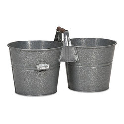 IMAX CORPORATION - Galvanized Double Beverage Bucket w/ Bottle Opener - For a quaint drink service, use this double beverage bucket with bottle opener, perfect for a picnic or intimate gathering. Find home furnishings, decor, and accessories from Posh Urban Furnishings. Beautiful, stylish furniture and decor that will brighten your home instantly. Shop modern, traditional, vintage, and world designs.