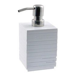 Gedy - Square White Soap Dispenser Made From Thermoplastic Resin - A high-end option, this liquid soap dispenser pump will also help keep soap handy at all times. Contemporary in design, this this lotion soap dispenser is made in thermoplastic resin and finished in white. Made in Italy by Gedy. Modern liquid dispenser made of thermoplastic resin. Coated in white. Part of the Gedy Quadrotto collection. Made in Italy. Luxury, decorator lotion soap dispenser.