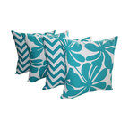 Land of Pillows - Twirly and Zig Zag Chevron True Turquoise Decorative Throw Pillows - Set of 4 - Give your sofa, day bed or window seat a burst of color and cushion with these turquoise and white throw pillows. This set of four stylish pillows includes two with a chic chevron design, and two with a lovely botanical pattern. All four cotton covers have a solid turquoise back, are filled with high quality fiber, and sewn closed. Let cool colors set the tone for your home by using these pillows to brighten up your decor!