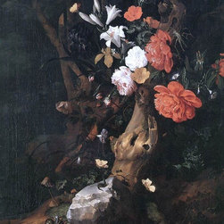 "Rachel Ruysch Flowers on a Tree Trunk - 18"" x 24"" Premium Archival Print - 18"" x 24"" Rachel Ruysch Flowers on a Tree Trunk premium archival print reproduced to meet museum quality standards. Our museum quality archival prints are produced using high-precision print technology for a more accurate reproduction printed on high quality, heavyweight matte presentation paper with fade-resistant, archival inks. Our progressive business model allows us to offer works of art to you at the best wholesale pricing, significantly less than art gallery prices, affordable to all. This line of artwork is produced with extra white border space (if you choose to have it framed, for your framer to work with to frame properly or utilize a larger mat and/or frame).  We present a comprehensive collection of exceptional art reproductions byRachel Ruysch."