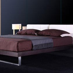 Stylish Leather High End Bedroom Sets feat. Light - Modern bedroom with built in blue led strips and chrome leg. The Contemporary Platform Bed has a clean modern design that will appeal to anyone who knows style.