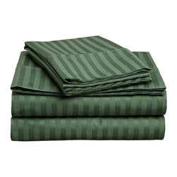 "400 Thread Count Egyptian Cotton Twin Hunter Green Stripe Sheet Set - Our 400 Thread Count Sheet Sets offers more luxury than our 300TC yet still at an affordable price. They are composed of premium, long-staple cotton and have a ""Sateen"" finish as they are woven to display a lustrous sheen that resembles satin. Luxury at an affordable price! Set includes: (1) Fitted 39""x75"", (1) Flat 66""x96"", (1) Pillowcase 20""x30""."