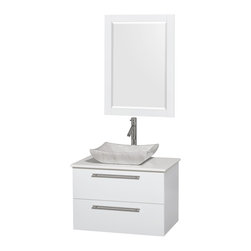 """Wyndham Collection - Amare 30"""" Vanity, White Stone, Avalon White Carrara Sink, 24"""" - Modern clean lines and a truly elegant design aesthetic meet affordability in the Wyndham Collection Amare Vanity. Available with green glass, acrylic resin or pure white man-made stone counters, and featuring soft close door hinges and drawer glides, you'll never hear a noisy door again! Meticulously finished with brushed chrome hardware, the attention to detail on this elegant contemporary vanity is unrivalled."""