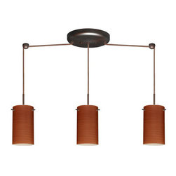 Besa Lighting - Besa Lighting 3BB-4404CH-HAL Stilo 3 Light Halogen Linear Pendant - Stilo 7 is a classic open-ended cylinder of handcrafted glass, a shape that will stand the test of time. Our Cherry glass is a soft off-white cased glass that is handcrafted with spiraling strokes of dark red, emphasizing the subtle brush pattern. The reddish rippled design is subdued and harmonious. Unlit, it appears as simply a textured surface like wood grain, but when lit the texture comes alive. The smooth satin finish on the clear outer layer is a result of an extensive etching process, with the texture of the subtle brushing. This blown glass is handcrafted by a skilled artisan, utilizing century-old techniques passed down from generation to generation. The cord pendant fixture is equipped with three (3) 10' SVT cordsets and a 3-light linear canopy, two (2) suspension stemhooks included.Features: