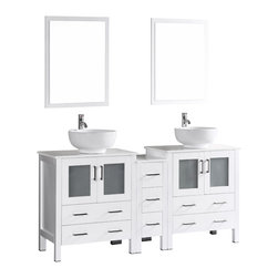 """Bosconi - 72"""" Bosconi AB230RO1S Double Vanity, White - Indulge the aesthetic principal with this stunning and spacious 72"""" glossy white Bosconi double vanity set. The ceramic, round vessel sinks and perfectly coordinating mirrors lend to a polished and efficient design. Features include two spacious cabinets with soft closing doors, as well as one detached side cabinet with three pull out drawers. Plenty of space to accommodate towels, toiletries and bathroom accessories."""