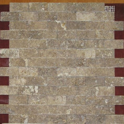 1 in. x 2 in. Noce Noche Tumbled Split Face Bricks Pattern Mesh-Mounted Traverti - 1 in. x 2 in. Noce Noche Mesh-Mounted Split Face Bricks Pattern Travertine Mosaic Tile is a great way to enhance your decor with a traditional aesthetic touch. This Tumbled Mosaic Tile is constructed from durable, impervious Travertine material, comes in a smooth, unglazed finish and is suitable for installation on floors, walls and countertops in commercial and residential spaces such as bathrooms and kitchens.
