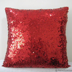 Luxury Glamour Bright Red Sequins Embellished Pillow Cover by Raine Style Home