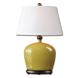 Uttermost - Uttermost Geraldine 28 Inch Table Lamp in Burnt Yellow - Distressed Burnt Yellow Glaze with Heavily Antiqued Silver Champagne Details.