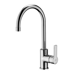 WS Bath Collections - Red Swiveling Spout Kitchen Faucet - Red by WS Bath Collections, Kitchen Sink Faucet, with High Rounded Swiveling Spout, in Polished Chrome Finish, Solid Brass Base, High Rounded Swiveling Spout, Rotates 180 Degrees Single Lever Controls Flow Rate and Temperature, Made in Italy