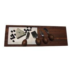 Bahari - Laminated Teak Wood Tray With Stainless Steel Inlaid , Large - Laminated Teak wood with stainless steel inlaid.  Clean with damp cloth and dry immediately.