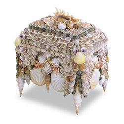 Kathy Kuo Home - Bonita Coastal Beach Large Shell Jewelry Box - An abundant, feminine style shines through each and every sustainably harvested shell on this unique jewelry box. Perfect for girly bathrooms, beach house guestrooms and dreamy bedrooms anywhere.