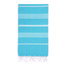 Turkish-T - Basic Bath Turkish-T, Aqua - Loomed in the world's finest textile region, this Turkish bath towel is both eco-friendly and lavish. Quick-drying and thin, this luxury beach towel is more lightweight, multifunctional, and long-lasting than a terry cloth towel. Complete with hand-tied fringe, the 100% cotton Basic Bath makes the perfect beach towel, bath sheet, sarong, tablecloth, scarf, and much more. Machine wash on cool. Tumble dry on low heat. Colors do not bleed or fade with wash.