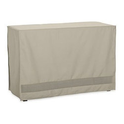 "Outdoor Oversized Buffet Cover, Khaki - Prolong the life of your outdoor furniture with our durable covers. Our khaki Oversized Buffet Cover is constructed of tightly woven polyester and backed with polyvinyl chloride to protect against damage from rain and snow. Our covers are puncture and crack resistant. 54"" wide x 23"" deep x 35"" high Reinforced seams and substantial ties add durability. Built-in vents provide air circulation and prevent mildew. Fits our Hampstead, Chesapeake and Chatham Buffet. Imported. View our {{link path='pages/popups/fb-outdoor.html' class='popup' width='480' height='300'}}Furniture Brochure{{/link}}."