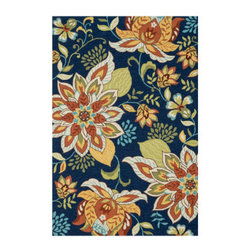 "Grandin Road - Francesca Area Rug - 2'3"" x 3'9"" - Floral rug in a mix of blue and neutral hues. Hand-hooked, looped construction. 100% polyester. Low profile at 1/4"" thick. Extend the life of your rug with a nonslip rug grip (sold separately). Low profile and blooming with great style, the floral Francesca rug offers comfort underfoot and beautiful modern flair for you floor or threshold. Each is hand-hooked from durable polyester fibers that are stain- and moisture-resistant, making it the perfect rug for a high traffic kitchen, family room, or entryway.. . . . . Imported."