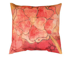 Manual - Pair of Garden Menagerie Red / Orange Flower Print Indoor / Outdoor - This pair of 18 inch by 18 inch woven throw pillows adds a wonderful accent to your home or patio. The pillows have ClimaWeave weatherproof exteriors, that resist both moisture and fading. The front and back of the pillows have the same print, a red and orange floral print. They have 100% polyester stuffing. These pillows are crafted with pride in the Blue Ridge Mountains of North Carolina, and add a quality accent to your home. They make great gifts for flower lovers.