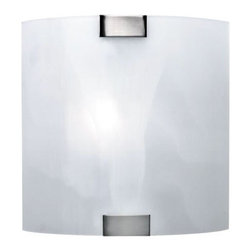 Lite Source - Lite Source, Inc. Polished Steel Nimbus Wall Lamp w/ Cloud Glass Shade - Lite Source, Inc. LS-1395CLOUD Nimbus Wall Lamp, Polished Steel w/ Cloud Glass ShadeContemporary wall lamp for a bedroom, hallway, office, den, or foyerPolished-steel body; square-shaped shade made of swirled glassUL- and cUL-listed; uses a 40-watt candelabra incandescent bulb (not included)Coordinates with other pieces from the Nimbus collection (sold separately)Measures approximately 3-3/4 inches long by 8 inches wide by 8 inches highNeed more information on this product? Click here to ask.