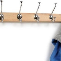 "Spectrum Diversified Design - Stratford Hat & Coat Wood Rack - Upgrade your storage options with the Stratford Hat and Coat Wood Rack. This wall mounted piece creates a functional and tasteful way to hang and store your coats hats purses and more. Crafted from rustic wood and sturdy steel.ChromeIncludes mounting hardware and matching wood plugs.CareWipe with a damp cloth and towel dry.FeaturesFunctional and stylish way to hang and store your coats hats and pursesEasily mounts to wallsConstructed of sturdy steel and all-natural wood Product SpecificationsHeight:2 1/2""Width:4 3/4""Depth:24"""