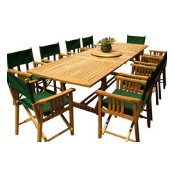 Westminster Teak Furniture - Veranda 11pc Director Chair Teak  Dining Set - 11pc rectangular teak dining set comes complete with 10 Westminster Teak Director Chairs and one large, rectangular Veranda Teak Extension Dining Table.  Accommodates optional umbrella while extended or compressed.