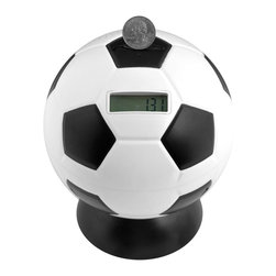 """Trademark Global - Soccer Ball Digital Coin Counting Bank - Battery not included. Requires 6 AA batteries. Soccerball shaped. Sound effects with each deposit. Removable base for coin retrieval. No assembly required. 5.75 in. Dia. x 7 in. H (1 lbs.)Teach your child responsibility and the value of saving money with the basketball digital coin counting bank. Kids will love depositing coins into this great basketball shaped bank. With each coin deposit an announcer says """"HE SCORES"""" followed by the roar of a crowd and the counter displays the total entered so you can track your progress. Make your kid feel like an all-star and teach them a valuable lesson with the basketball digital coin counting bank."""