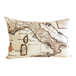 Poetic Pillow - Antique Italy Map Pillow - Transform any space with a pillow from Poetic Pillow. Each pillow is inspired by fine works of art and printed on the front and back.   Covers are made of pre-shrunk satin-like polyester fabric. All seams are finished to prevent fraying and pillow covers have a knife edge finish.. A concealed zipper allows for ease of inputting pillow inserts.  A duck feather insert is included for soft yet supportive feel.  Cushion inserts are encased in a cotton cover and filled with 100% duck feather.  All research, design and packaging is completed in Oakland, California.