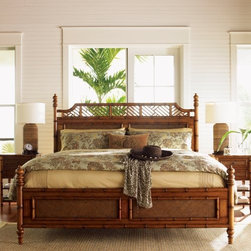 Tommy Bahama by Lexington Home Brands Island Estate West Indies Poster Bed - Bring laid-back, elegance island life home with the distinguished Tommy Bahama Island Estate West Indies Poster Bed. This bed features bamboo-inspired carved posts topped with elegant finials, and accented by rattan and open detailing. It's made of select hardwoods and cherry veneers in a handsome walnut finish and scaled to fit today's larger homes. This bed is available in queen, king, or California king size options.Bed DimensionsCalifornia King: 91L x 78W x 87H inchesKing: 87L x 82W x 87H inchesQueen: 87L x 65W x 57H inchesAbout Tommy Bahama HomeTommy Bahama started as an upscale men's casual sportswear line and has transformed into a signature brand, expanding their product line to accommodate women's apparel, golf wear, footwear, home furnishings, and even retail and restaurant compounds. The Tommy Bahama brand represents quality products with fashion forward designs that are available at an affordable price. Their signature island-lifestyle designs suggest a modern style with an emphasis on comfort and relaxation.