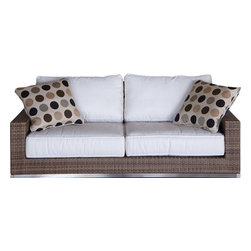 Thos. Baker - Palms Wicker Outdoor Sofa - The palms collection  features rich, coffee-colored Viro all-weather wicker woven over rust-resistant aluminum frames set on 304-grade stainless legs. Plush cushion sets are covered in Sunbrella outdoor performance fabrics made-to-order in your choice of solids or textures or premium woven and striped patterns.Signature or premium cushion sales are final and ship in 2-3 weeks.