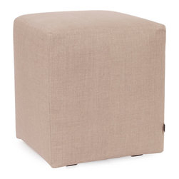Howard Elliott - Prairie Linen Natural Universal Cube Cover - The Universal Cube in Prairie Linen is a great addition to any room. Velcro fasteners and tailored design make it so you would never know this piece is slipcovered. Cleaning and updating is a breeze, change your look on a whim with new covers!. This Prairie Linen Natural piece is 100% linen finished in natural linen. 18 in. W x 18 in. D x 20 in. H
