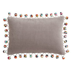 "pom pom grey 18""x12"" pillow - rah rah. Add some retro pep. Multicolored pom poms cheer on velvety cotton oblong in Grey.- 100% cotton velvet- Feather-down insert- Hidden zipper closure- Dry clean- Made in India- See dimensions below"