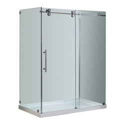 Aston - Aston 60x35x77.5, Completely Frameless Sliding Shower, Chrome with Right Base - Create a custom modern look without the luxury price tag with the SEN979 Completely Frameless Sliding Door Shower Enclosure. Masterfully designed of forward-industrial components with superior craftsmanship, this shower enclosure will add luxury and functionality to your bath instantly.