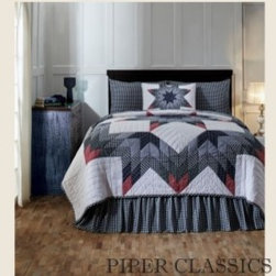 Eastpointe Quilted Bedding - Eastpointe Quilted Bedding features a broken star motif that is a time-tested favorite of quilters and collectors. The look is updated with a fresh country blue collage with red-tipped star points in a flowered ditzy fabric, 100% cotton shell and fill.