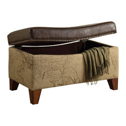 Armen Living - Storage Ottoman Map Jute Fabric,Vintage Brown Bonded Trim - Rest a tray of  cocktails or stow blankets and throws inside this stylish  storage ottoman.  Accented with antique nails and wrapped in a harmony of plush antique bonded leather and jute fabric for lasting appeal.