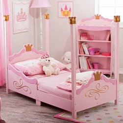 KidKraft Princess Toddler Bed - Pink - Painted in bright pretty pink shades with golden crowns adorning the headboard footboard the top of each bed post the KidKraft Princess Toddler Bed is every little girl's dream come true. It's constructed from strong durable wood and easy for your princess to crawl into. This toddler bed makes the transition from a crib much easier. The recommended age for this bed is 15 months and up and the maximum weight capacity is 50 pounds. It accommodates a crib-size mattress. Dimensions: 54.75L x 29.5W x 44.5H inches. About KidKraftKidKraft is a leading creator manufacturer and distributor of children's furniture toy gift and room accessory items. KidKraft's headquarters in Dallas Texas serve as the nerve center for the company's design operations and distribution networks. With the company mission emphasizing quality design dependability and competitive pricing KidKraft has consistently experienced double-digit growth. It is a name parents can trust for high-quality safe innovative children's toys and furniture.