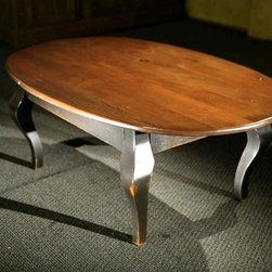 Oval Wood Coffee Table with Black French Legs - Made by http://www.ecustomfinishes.com
