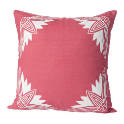 Cricket Radio - Alexandria Lotus Pillow, Rose/White - Sink into soft, classic style with this pillow hand-printed on pre-shrunk Italian linen. It features your choices of soft colors, ecofriendly inks, and a down insert which can be removed for easy cleaning. At 20 inches square, it's a perfect addition to your bed, bench or sofa.