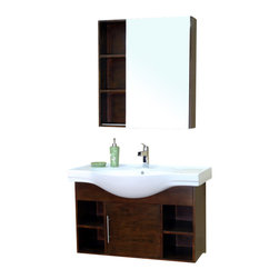 Bellaterra Home - 40.5 Inch Single Wall Mount Style Sink Vanity-Wood-Walnut - This modern bathroom vanity is an exquisite contemporary design. Features include a ceramic counter-top, one door, and open shelves on both sides. Soft closing hinges and steel bracket in back for easy installation. Dimension: 40.5 W x 20.1 D x 25.5 H