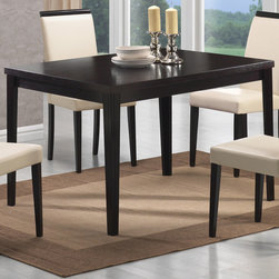 """Coaster - Pompeo Dining Table, Cappuccino - The simple set features a smooth square table, with sleek square shaker legs. The four matching chairs are upholstered in a crisp cream vinyl with exposed cappuccino top lining. Add this set to your home for a warm and inviting dining and entertainment room that friends and family will love.; Contemporary Style; Cappuccino Finish; Dimensions: 47.25""""L x 35.25""""W x 30""""H"""