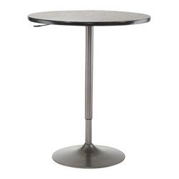 Hillsdale - Hillsdale Aspen Adjustable Round Pub Table in Oyster Grey and Black - Hillsdale - Pub Tables - 4189PTBG - The Hillsdale Aspen Pub Table offers a combination of oyster grey base and black top finish. It features a rounded wood top and a lift mechanism to adjust from counter and bar heights. With a simple yet practical design the Aspen Pub Table offers a lasting appeal you will enjoy for many years.