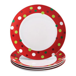Rachael Ray - Rachael Ray Dinnerware 4-Piece Dinner Plate Set - Hoots Decorated Tree - Dot Pat - Shop for Dishes and Plates from Hayneedle.com! Create a festive holiday atmosphere with the beautiful Rachael Ray Dinnerware 4-Piece Dinner Plate Set - Hoots Decorated Tree - Dot Pattern. These sturdy porcelain dinner plates feature a cheery red band with a green white and red polka dot motif to add extra holiday spirit to every table. Use them to serve your favorite holiday appetizers snacks and desserts. The dinner plates mix-and-match with so many other coordinating and contrasting pieces and sets from Rachael Ray's holiday collections that eating and entertaining is a celebration from the get-go. And best of all because they are conveniently microwave and dishwasher safe you'll spend more time with your guests and away from the kitchen sink. About Rachael RayThis collection of fun functional colorful cookware is inspired and endorsed by TV personality Rachael Ray. Express yourself through your cookware with these truly unique pieces made with high-quality materials like cast iron and bright enamel exteriors. These hard-working pieces are perfect for all types of cooks from casual home users to commercial chefs and you'll love the way they look in your kitchen.