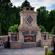 Modern Outdoor Fireplaces by Gemstone Masonry & Landscape Supply Ltd.