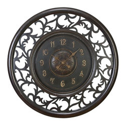 Aspire - 36 in. Medieval Wall Clock - This large wall clock will add a rustic touch to your decor. The open frame is decorative and creative. The dark color ensures that the clock blends into all decor color themes. Metal. Color/Finish: Dark antique brown. Operates using one AA battery (not included). 36 in. H x 36 in. W x 2 in. D. Weight: 17 lbs.