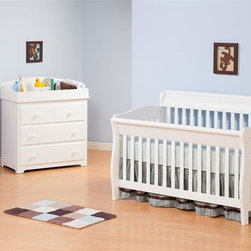 Atlantic Furniture - Versailles Convertible Crib Bed in White Fini - Five position adjustable mattress support system. Solid Eco-Friendly hardwood construction. Converts to toddler bed, to day bed, to full size bed (headboard attaches to metal frame not included). Easy to assemble with permanently attached instructions. 54.1 in. W x 35.3 in. D x 38.39 in. H. Optional flat panel drawers: 74 in. L x 22 in. W x 12 in. H. Optional raised panel drawers: 74 in. L x 24.38 in. W x 12 in. H. Optional raised panel trundle: 74.75 in. L x 40.38 in. W x 11.63 in. H. Crib Safety: ivgStores cares about the safety of the products we sell especially for your new little one. We work closely with our manufacturers and only carry those items which meet or exceed federal and state laws. If you are considering buying a new crib or even using a previously owned or heirloom crib, we recommend you visit  cribsafety.org to learn more about crib safety.Designed to adapt to the needs of a growing child, Atlantic cribs convert from a crib, to a day bed, and then a full size bed. Steel fasteners and solid hardwood construction exceeds industry standards for safety. Mortise and tennon side panel construction provides unsurpassed strength and durability. Our five step finishing process is non-toxic and lead free. Each crib has a 5 position adjustable mattress support system and converts to a full size bed with the addition of a bolt on metal bed frame.